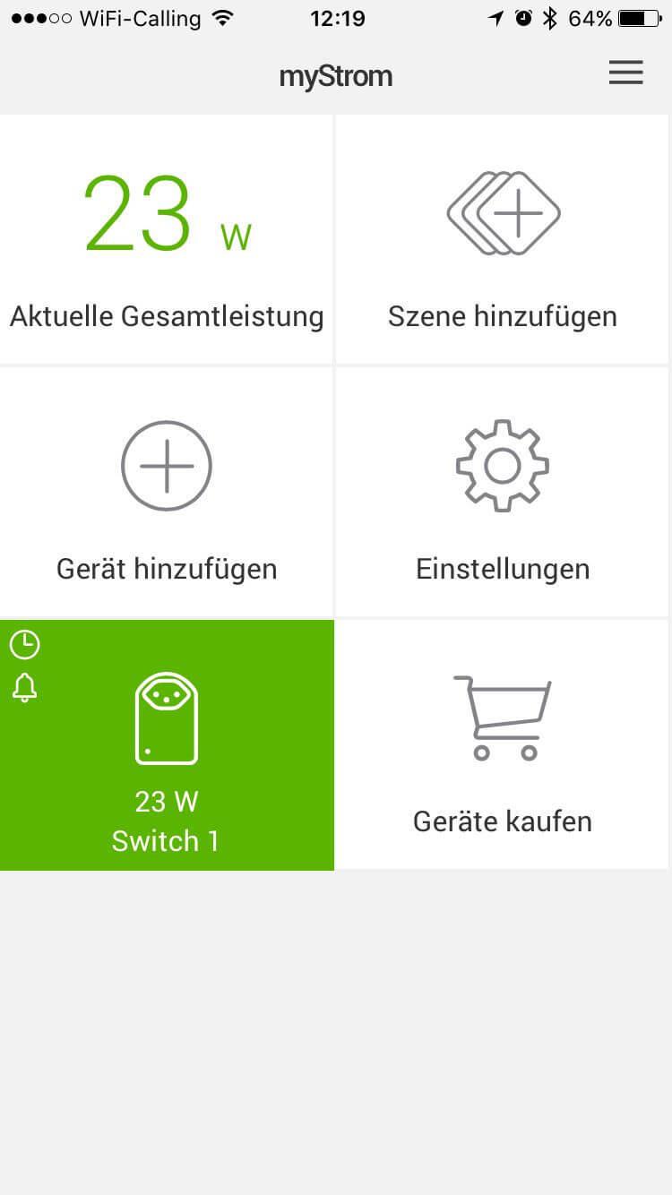 MyStrom App Übersicht