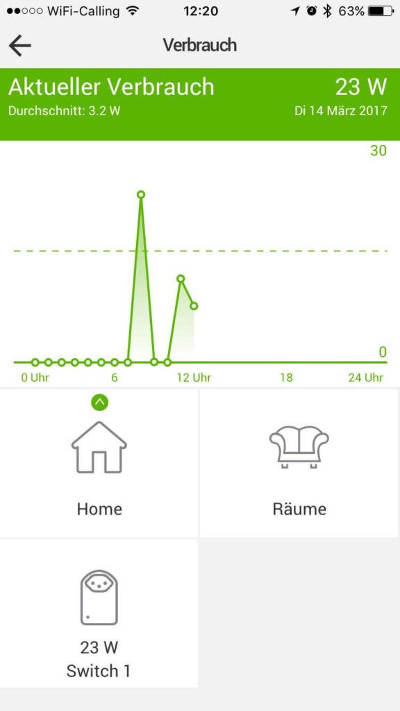 MyStrom App Verbrauch