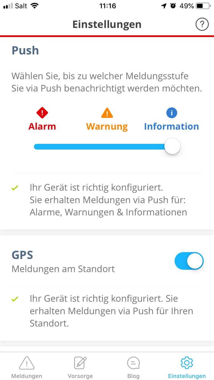 Alertswiss iOS Einstellungen
